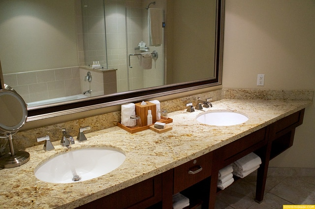 Very spacious bathrooms with double vanities, tub and step-in shower.